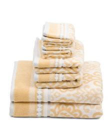 NICOLE MILLER 6pc Jacquard Loop Terry Dyed Towel S