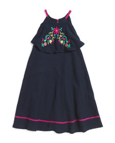 ISAAC MIZRAHI Little Girls Embroidered Popover Dre