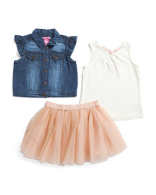 ISAAC MIZRAHI Toddler Girls 3pc Vest And Top With