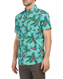 LEE Short Sleeve Garment Washed Tropical Print Shi