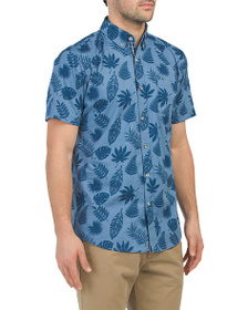 LEE Short Sleeve Garment Washed Leaf Print Shirt