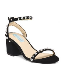 BETSEY JOHNSON One Band Ankle Strap Suede Heels
