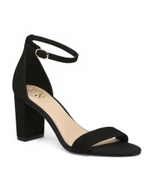 VINCE CAMUTO Suede Ankle Strap Block Heels
