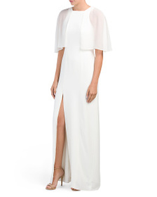 HALSTON HERITAGE Sheer Sleeve Gown With Slit