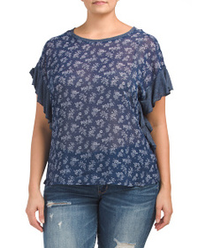 VINCE CAMUTO Plus Short Sleeve Ruffle Top