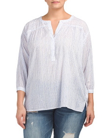 VINCE CAMUTO Plus Drizzle Stripe Henley Top
