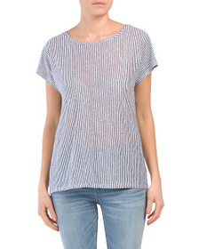C&C CALIFORNIA City Stripe Linen Top