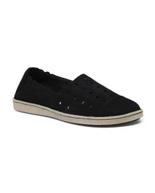 BORN Perforated Slip On Suede Sneakers
