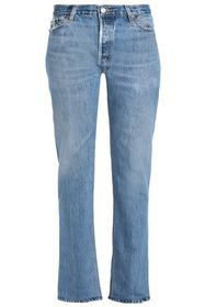 RE/DONE by LEVI'S Distressed mid-rise straight-leg