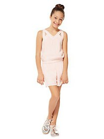 Dex Girl's Cut-Out Crinkle Romper LIGHT PINK