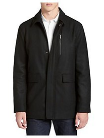 Calvin Klein Wool-Blend Zip Coat BLACK