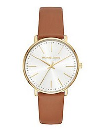 Michael Kors Pyper Goldtone and Leather Strap Watc