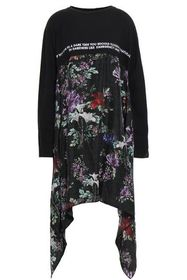 EACH X OTHER Draped silk-paneled embroidered cotto