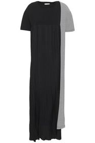EACH X OTHER Pleated crepe and striped cotton-jers