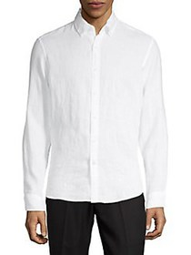 Michael Kors Linen-Button Down Shirt WHITE