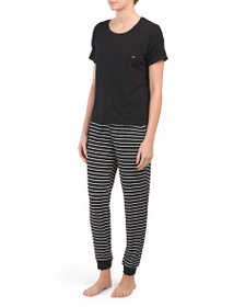 NICOLE MILLER Dolman Sleeve Tee With Joggers Pajam