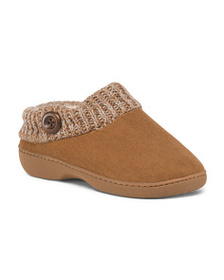 KOOBA Faux Suede Slipper With Sweater Collar And B
