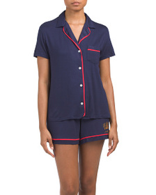 JUICY COUTURE Knit Notch Collar Shorty Set