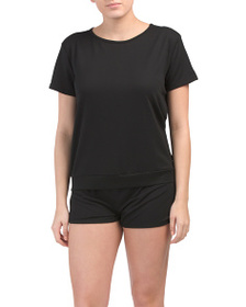 NICOLE MILLER 2pc French Terry Crew Neck Shorty Se