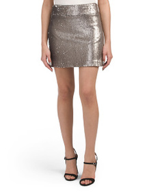 HALSTON HERITAGE Mini Sequined Skirt