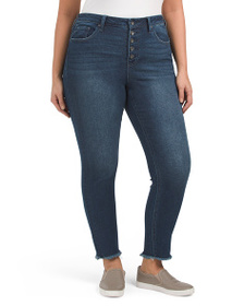 MAX STUDIO Plus High Rise Skinny Button Fly Jeans