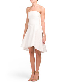 HALSTON HERITAGE Seamed Jacquard Hi-lo Dress