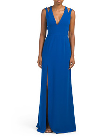 HALSTON HERITAGE V Neck Crepe Gown With Back Cut O