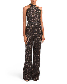 LOTUS THREADS Beaded Neckline Lace Jumpsuit