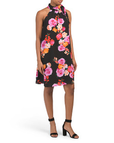 PHILOSOPHY Sleeveless Halter Floral Dress With Nec