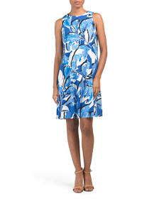 AK ANNE KLEIN Trapeze Sleeveless Printed Dress