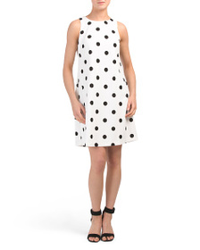AK ANNE KLEIN Sleeveless A Line Printed Dot Dress