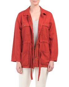 NICOLE MILLER Drawstring Waist Jacket With Pockets