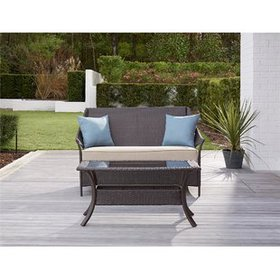 Ismay 2 Piece Rattan Sofa Set with Cushions