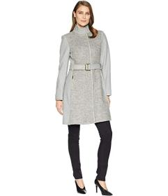 Vince Camuto Belted Mixed Media Wool Coat R1191