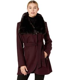 French Connection Wool with Faux Fur Collar and Be