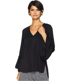 Halston Heritage Long Sleeve V-Neck Ruched Top