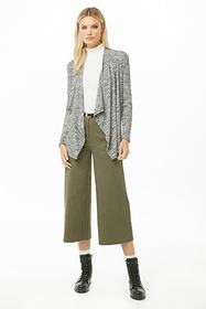 Forever21 Marled Ribbed Drape-Front Cardigan