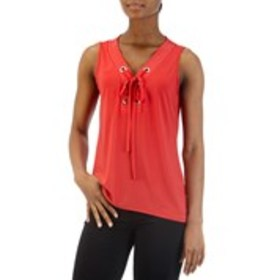 NOTATIONS Sleeveless Lace-Up Grommet Top