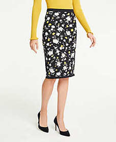 Floral Sweater Pencil Skirt