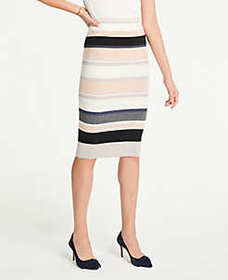 Stripe Ribbed Sweater Pencil Skirt