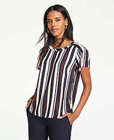 Striped Pleated Shoulder Tee