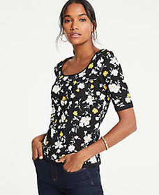Floral Square Neck Elbow Sleeve Sweater