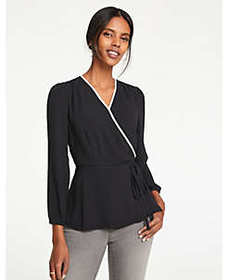 Contrast Tipped Wrap Top