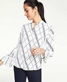 Plaid Pleated Cuff Blouse