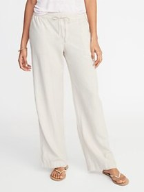 Mid-Rise Wide-Leg Linen-Blend Pull-On Pants for Wo