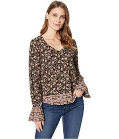 Lucky Brand Border Print Cinched Sleeve Top