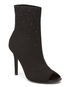 CHARLES BY CHARLES DAVID Peep Toe Stretch Knit Boo