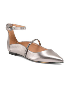 HALSTON HERITAGE Studded Leather Pointed Toe Flats