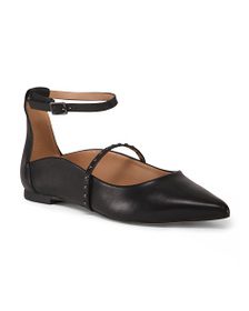 HALSTON HERITAGE Leather Ankle Strap Pointed Toe F