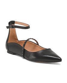 HALSTON HERITAGE Studded Leather Pointy Toe Flats